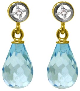 2.73 CTW 14k Yellow Gold Pear Cut Blue Topaz and Diamond Earrings