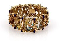 Other Cheany 18k Yellow Gold Sapphire Turquoise Ruby And Enamel Zodiac Link Bracelet
