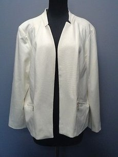 Chicos Ivory Rayon Long Sleeves Solid Lined Open Front Blazer Jacket Sm702