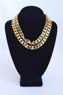 Christian Dior Gold Tone Metal Flat Crystal Detail Chain 80s Womens Necklace