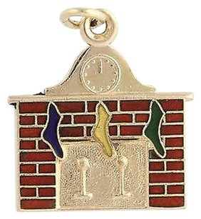 Christmas Fireplace Stocking Charm - 14k Yellow Gold Enameled Polished