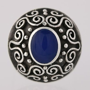 Chunky Blue Enamel Scroll Work Ring - Sterling Silver Womens Statement