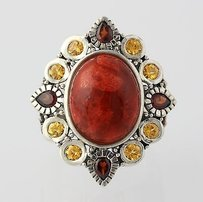Other Chunky Bright Coral Citrine Garnet Ring - Sterling Silver Noa Zuman 6.25