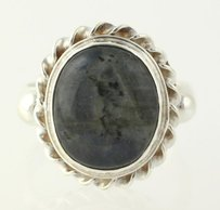 Other Chunky Labradorite Ring - Sterling Silver 925 7.75 Oval Gray Solitaire