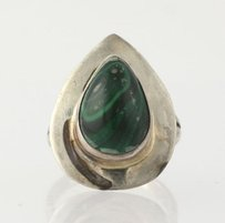 Chunky Malachite Ring - Vintage Sterling Silver Sensa Eustace Womens