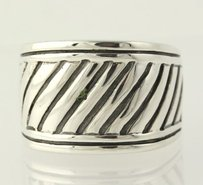 Chunky Ridged Ring - Sterling Silver 6.75 Womens Polished 925 Statement