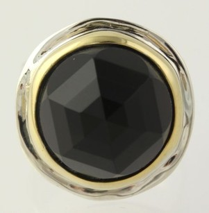 Chunky Round Cushion Cut Onyx Ring - Sterling Silver 925 6.75 Black Stone
