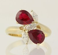 Chunky Synthetic Red Ruby White Cz Ring - Sterling Silver Cocktail