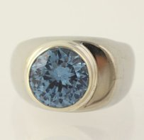 Other Chunky Synthetic Spinel Ring Sterling Silver 925 Blue Solitaire Taxco