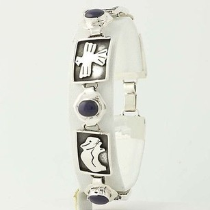 Other Chunky Tribal Animal Bracelet - Sterling Silver 925 Mexico 7.75 Chain Enamel