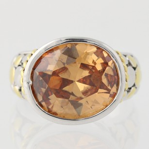 Chunky Yellow Orange Cz Ring 18k Gold Electroplate Oval Solitaire Cocktail