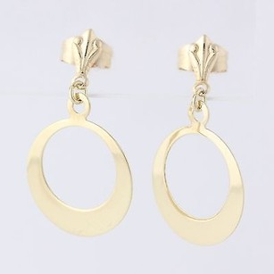 Circle Dangle Earrings 14k Yellow Gold Womens Fine Jewelry Pierced Lightweight