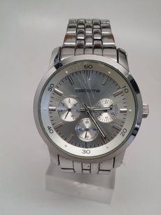 Claiborne Mens Clm1000 Silver Tone Band. Silver Face W Multi Functions