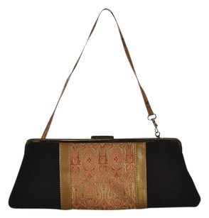 Other The Mango Tree Womens Suede Embroidered Handbag Brown Clutch