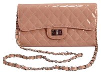 Salmon Quilted Patent Pink Clutch