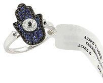 Estate 18k White Gold Sapphire Onyx And Diamond Cocktail Ring - Size 6.5