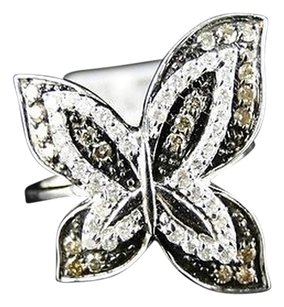 .77 Ct White Gold Finish Ladies Womens Xl Diamond Brown Butterfly Ring