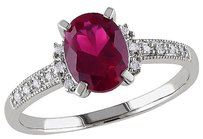 Other 2.07 Ct Tw Diamond And Ruby Cluster Fashion Ring 10k White Gold Gh I2i3