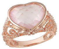 Pink Sterling Silver 6 12 Ct Rose Quartz Heart Love Fashion Cocktail Ring