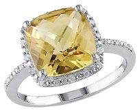 4.104 Ct Tw Diamond And Citrine Fashion Ring In Sterling Silver Gh I3