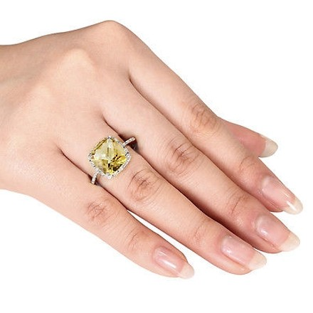 Other 4.104 Ct Tw Diamond And Citrine Fashion Ring In Sterling Silver Gh I3