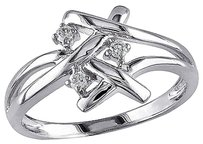 Other 10k White Gold 110 Ct Diamond Fashion Criss-cross Braided Cocktail Ring