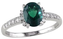 Other 1.07 Ct Tw Diamond And Emerald Cluster Fashion Ring 10k White Gold Gh I2i3