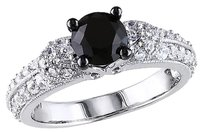 1 34 Ct Tgw Black Spinel White Sapphire Fashion Ring In Sterling Silver