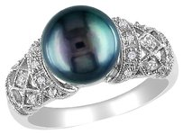 Other Sterling Silver 110 Ct Diamond 9-10 Mm Black Freshwater Pearl Fashion Ring
