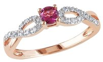Other Pink Silver 0.28 Ct Tw Diamond And Pink Tourmaline Crossover Ring Gh I2i3