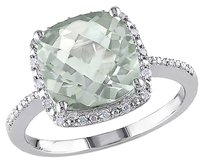 Other 4.104 Ct Tw Diamond And Green Amethyst Fashion Ring In Sterling Silver Gh I3