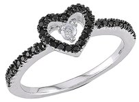 Sterling Silver 14 Ct Black And White Diamond Heart Fashion Love Ring Gh I3
