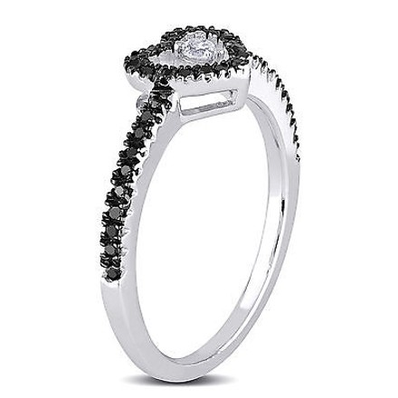 Other Sterling Silver 14 Ct Black And White Diamond Heart Fashion Love Ring Gh I3