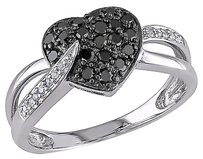 Other 10k White Gold 13 Ct Black And White Diamond Heart Love Cocktail Ring Gh I2i3