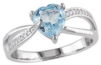 Sterling Silver 1.351 Ct Tw Diamond Blue Topaz Sky Swivel Crossover Heart Ring