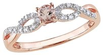 0.236 Ct Tw Diamond And Morganite Crossover Fashion Ring Pink Silver Gh I2i3