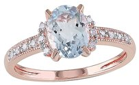 1.07 Ct Tw Diamond And Aquamarine Cluster Fashion Ring Pink Silver Gh I2i3