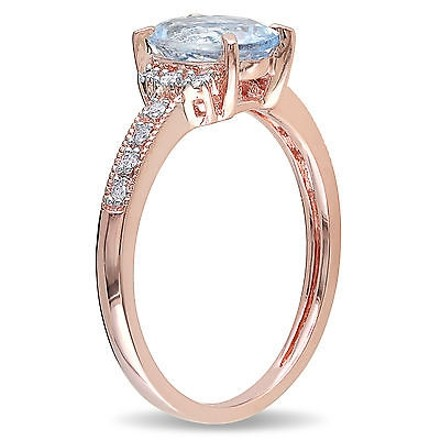 Other 1.07 Ct Tw Diamond And Aquamarine Cluster Fashion Ring Pink Silver Gh I2i3