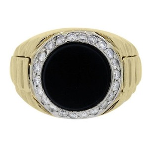 18kt Yellow Gold Mens Diamond And Onyx Ring