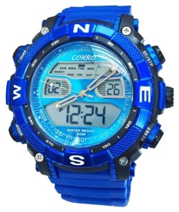Other Cohro G T Sky Shock Gmt2801blu Seiko Movt Dual Time Blue Trek Mens Watch Paw