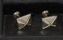 In Box Quentin Ashford Sterling Silver Pyramid Stud Cuff Links Mens Formal