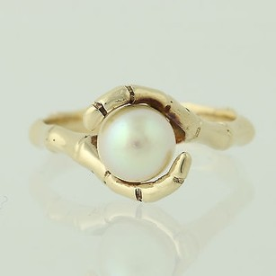 Other Cultured Pearl Bypass Ring - 10k Yellow Gold Bamboo Band Unique Womens 7.2mm