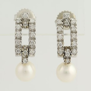 Other Cultured Pearl Diamond Drop Earrings- 14k White Gold Pierced Genuine.52ctw