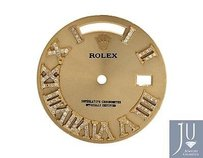 Custom Pave Set Diamond Gold Finish Dial For Rolex Day Date 1 41mm Watch 0.75 Ct