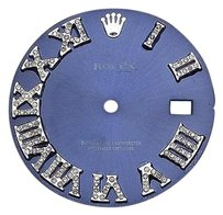 Custom Pave Set Diamond Royal Blue Dial For Rolex Datejust 36mm Watch 0.75 Ct