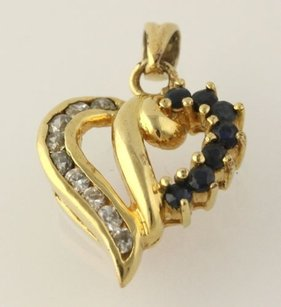 Other Cz Blue Sapphire Heart Pendant - Sterling Silver Womens Cubic Zirconias 925