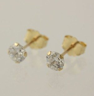 Cz Earrings - 10k Yellow Gold Cubic Zirconia Round Solitaire Pierce Stud