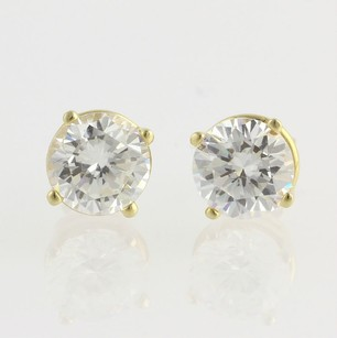 Cz Stud Earrings - 14k Yellow Gold 3.80ctw Dew Cubic Zirconias Fashion 8mm Round