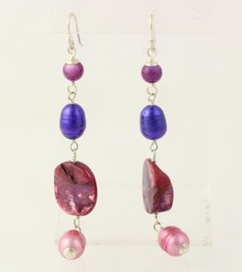 Dangle Earrings - Sterling Silver Pink Purple Pearl Mop Agate Hook Posts
