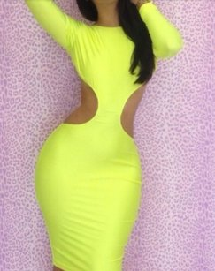 Other Date Backless Bodycon Long Sleeve Knee Length Dress